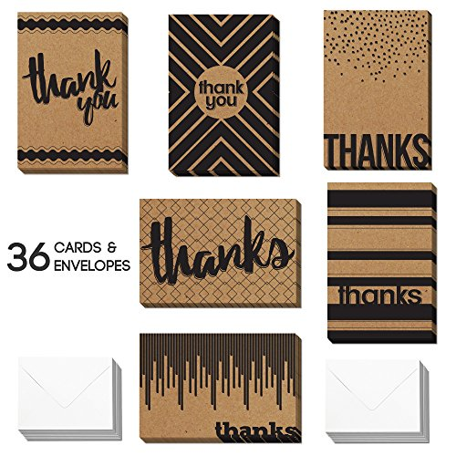 36 Blank Kraft Thank You Cards - Bulk 4x6 Cute Krafty Cards with Envelopes for Men & Women