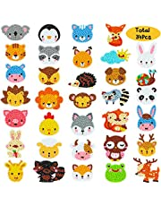 BeYumi 34Pcs 5D Diamond Painting Kits for Kids, DIY Animals Diamond Painting Stickers, Handmade Digital Diamond Arts Craft Mosaic Stickers, Painting by Numbers Kits for Adult Beginners