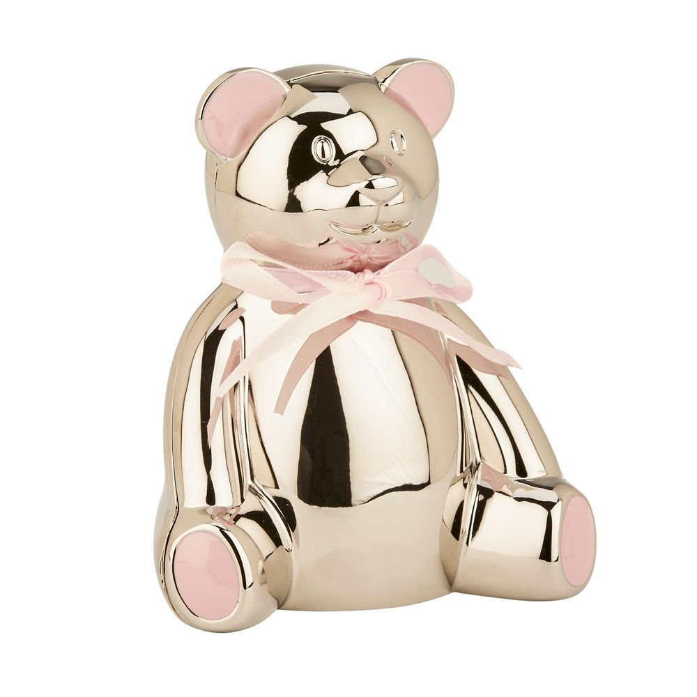 Creative Gifts International Teddy Bear Bank with Pink Highlights, Silver