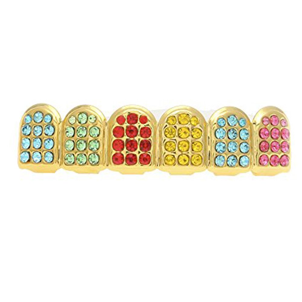 MCSAYS Micro Pave Teeth Grillz Iced-out Teeth Top Upper Hip Hop Colorful Rhinestones 6 Teeth Grillz by MCSAYS (Image #1)