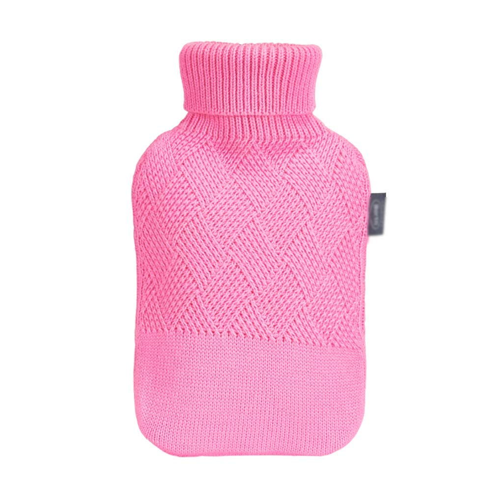 CFJKN Hot Water Bottles Rubber, Classic Rubber Hot Water Bottles 2 Liter Hot Water Bag Fleece Covers Great for Pain Relief,Pink_32x20cm/13x8inch by CFJKN
