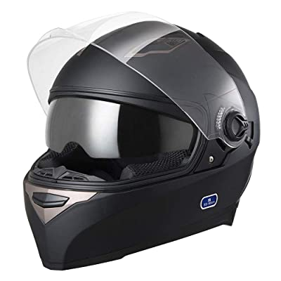 AHR DOT Motorcycle Full Face Helmet Dual Visors Lightweight ABS Air Vent Motorbike Touring Sports: Automotive