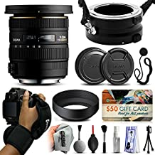 Sigma 10-20mm F3.5 EX DC HSM Lens for Nikon (202306) with Exclusive Dual Lens Holder/Flipper + Wrist Strap + Cap Keeper + Deluxe Lens Cleaning Kit for Prints