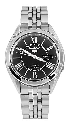 Seiko 5 SNKL35 - Reloj automático japonés para Hombre (Acero Inoxidable), Color Negro: Amazon.es: Relojes