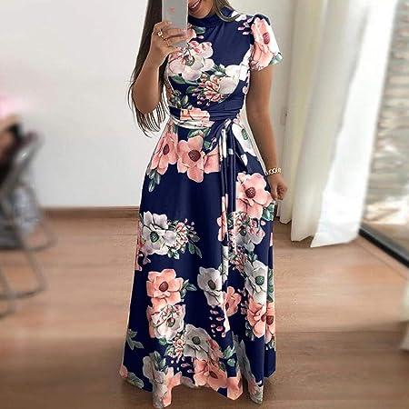 SkirtCP Vestidos De Casual para Mujer Vestido-2019 Aliexpress Cross-Border De Mujer para Amazon Ebay Vestido De Invierno Otoño Vestido Informal con Estampado, Azul, M: Amazon.es: Hogar