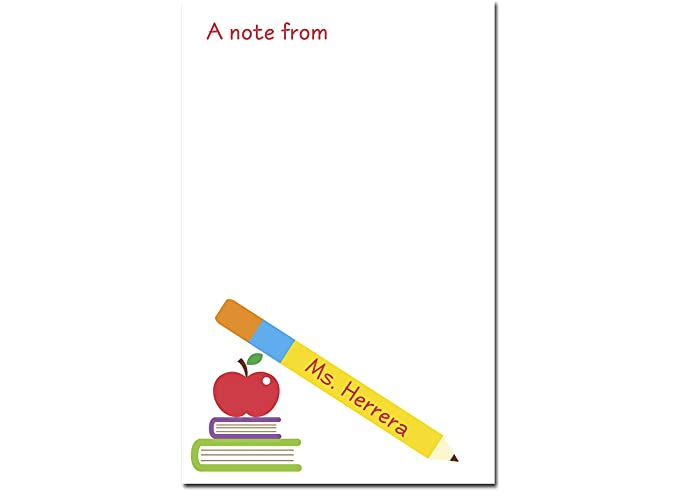 Personalised Lined Kraft Notepad Notebook Jotter Planner End of Term Teacher Appreciation Gift Present Apple Teacher/'s Name DD675