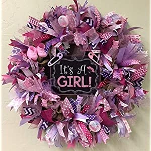 It's A Girl Burlap Wreath Door Decoration with Sparkle. Super Cute & Whimsical. Baby Girl, Gender reveal Baby Shower Decoration 89