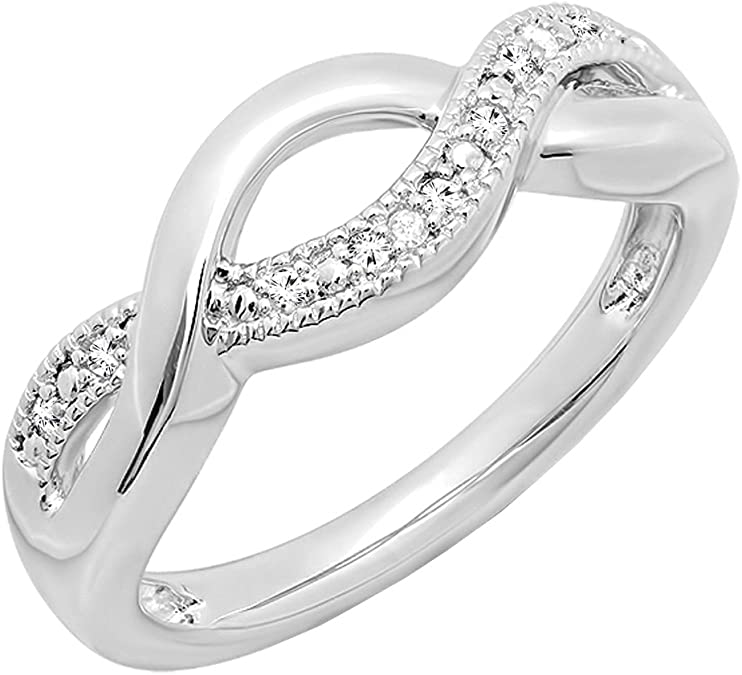 Sterling Silver Round Blue /& White Diamond Ladies Crossover Swirl Bridal Promise Ring 0.05 Carat ctw