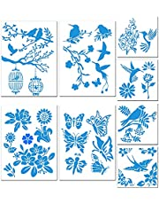 Birds Stencils for Painting,Large Birdcage Flying Bird Stencils for Painting on Wood,Reusable Bird Tree Branches Flower Butterfly Wall Stencils Drawing & Art Supplies DIY Wall Home Decor 8 PCS