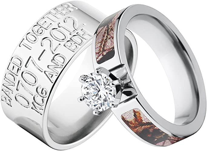 Amazon Com His And Her Mossy Oak Camo Ring W Duck Band Made In