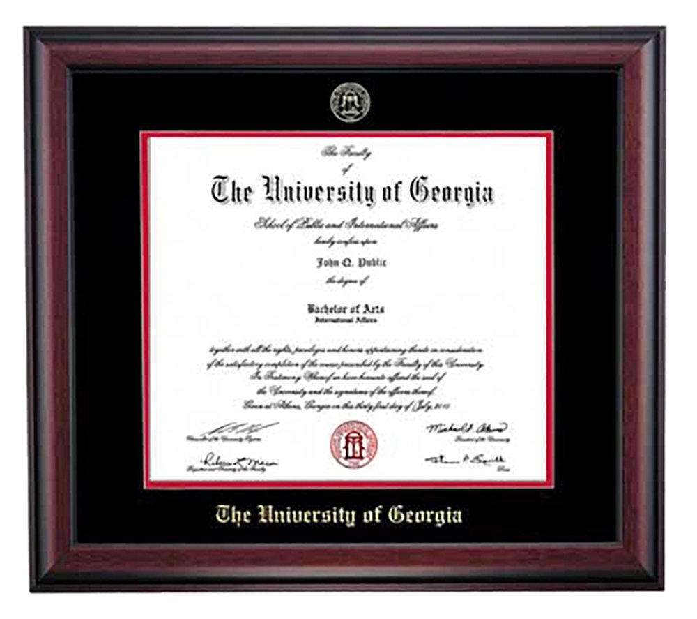 Embossed UGA Diploma Frame (Mahogany) by Athens Art and Frame