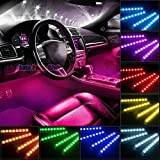 Car Interior Lights,Auto Parts Club 4pcs 36 LED DC 12V Multicolor Car LED Strip Light LED Under Dash Lighting Waterproof Kit and Wireless Remote Control Glow Lighting Kit,Car Charger Included