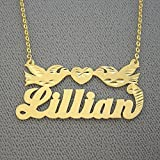 10k Gold Name Necklace Personalized Nameplates Diamond Cut Two Loving Birds with Heart