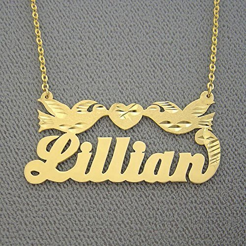 10k Gold Name Necklace Personalized Nameplates Diamond Cut Two Loving Birds with Heart by Soul Jewelry Inc