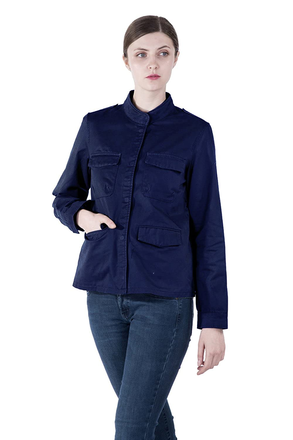 Infron IN FRONT Women Stand Collar Inner Drawstring Adjustable Waist Zipper Plus Size Jacket CVspring coat