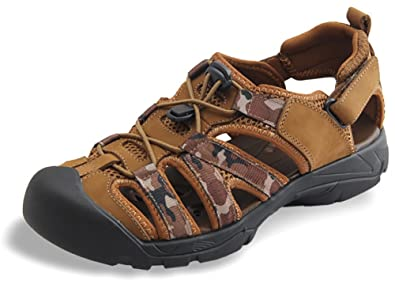 69853ebda96d Odema Mens Summer Leather Size Plus Closed Toe Strap Outdoor Fisherman  Sandals Lightbrown