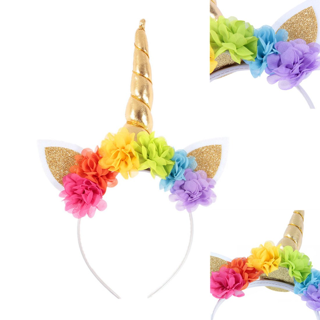 JMITHA Haarreif Einhorn Elastisch Einhorn Blumenm/ädchen Haarschmuck M/ädchen Haare Hoop Stirnb/änder Haar-Zus/ätze Haarreif Mehrfarbig