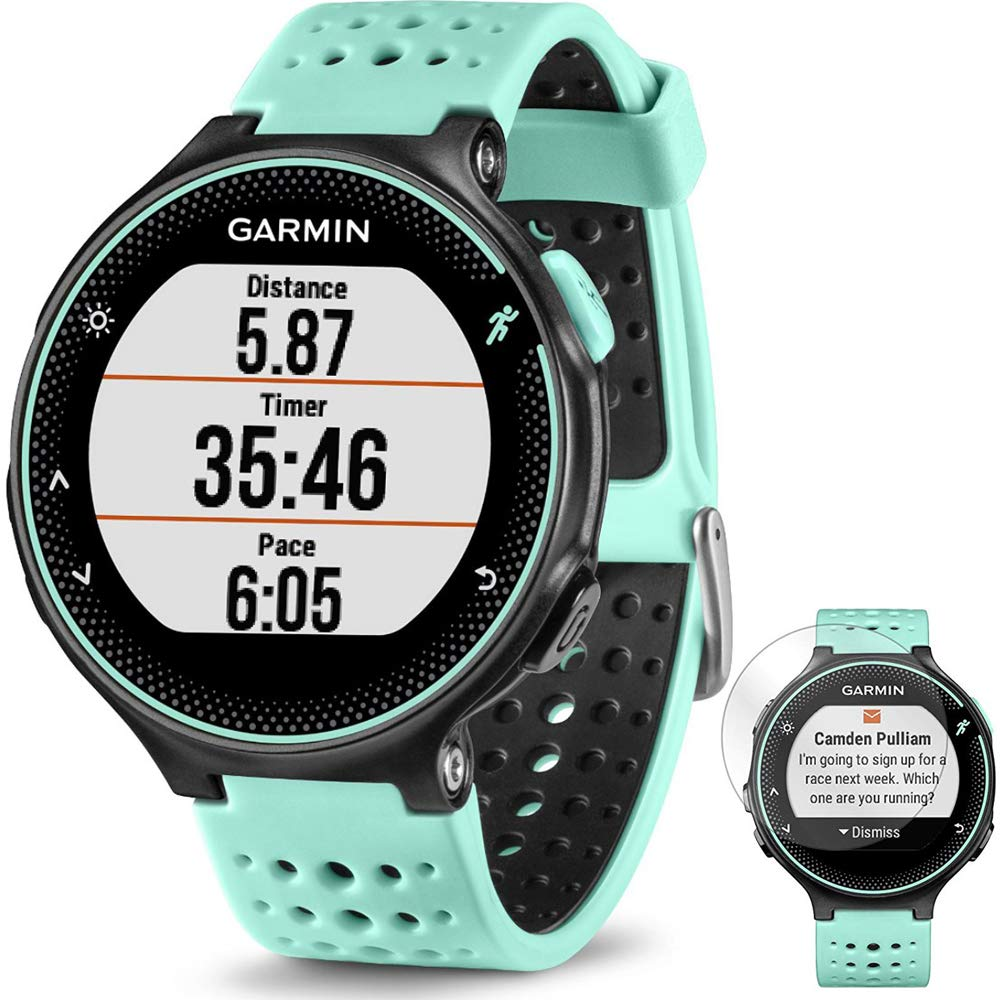 Garmin Forerunner 235 GPS Sport Watch with Wrist-Based Heart Rate Monitor Frost Blue (010-03717-48) + Deco Gear Screen Protector Forerunner 235 Watch