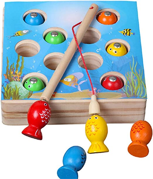 Magnetic Wooden Fishing Toy Educational Development Toy for Kids Children
