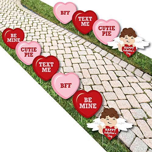 Conversation Hearts - Cupid and Heart Lawn Decorations - Outdoor Valentine's Day Party Yard Decorations - 10 Piece -