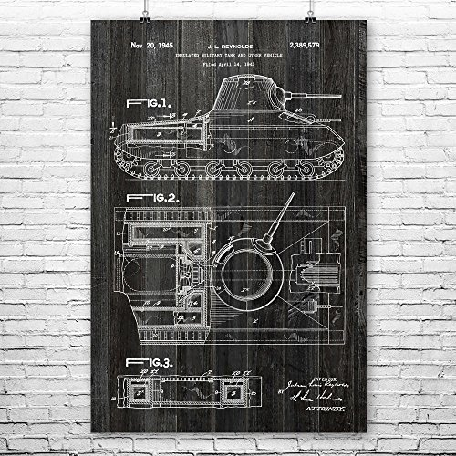 Patent Earth WW2 Tank Poster Print, 1st Armored Division, Artillery Units, American Military, Combat Vehicles, Army Soldier Gifts Weathered Wood (9