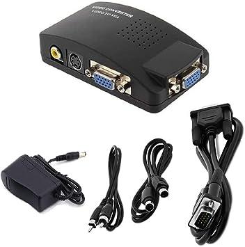 SOUTHSKY - Adaptador conversor de TV AV S Video RCA Composite a VGA PC Monitor Box: Amazon.es: Electrónica
