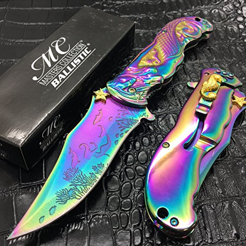 Only US Master Collection All Rainbow MermaidTitanium Blade Pocket Collectible Knife (Coated Knife Butterfly)