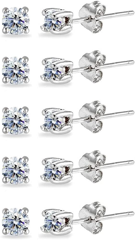 5-Pair Set Sterling Silver 3mm Round Colored Stud Earrings Made with Swarovski Crystals