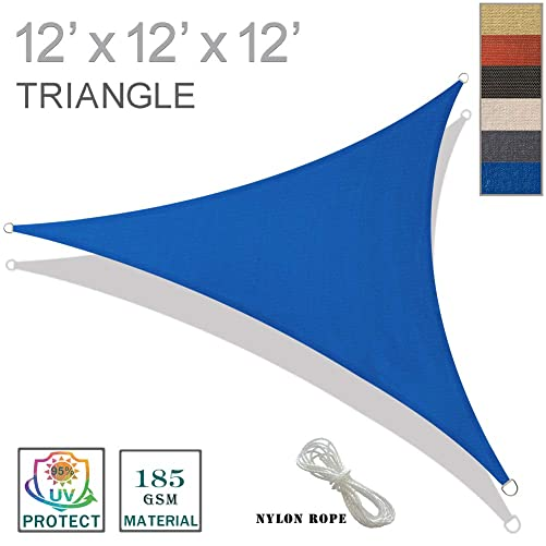 SUNNY GUARD 12 x 12 x 12 Blue Triangle Sun Shade Sail UV Block for Outdoor Patio Garden