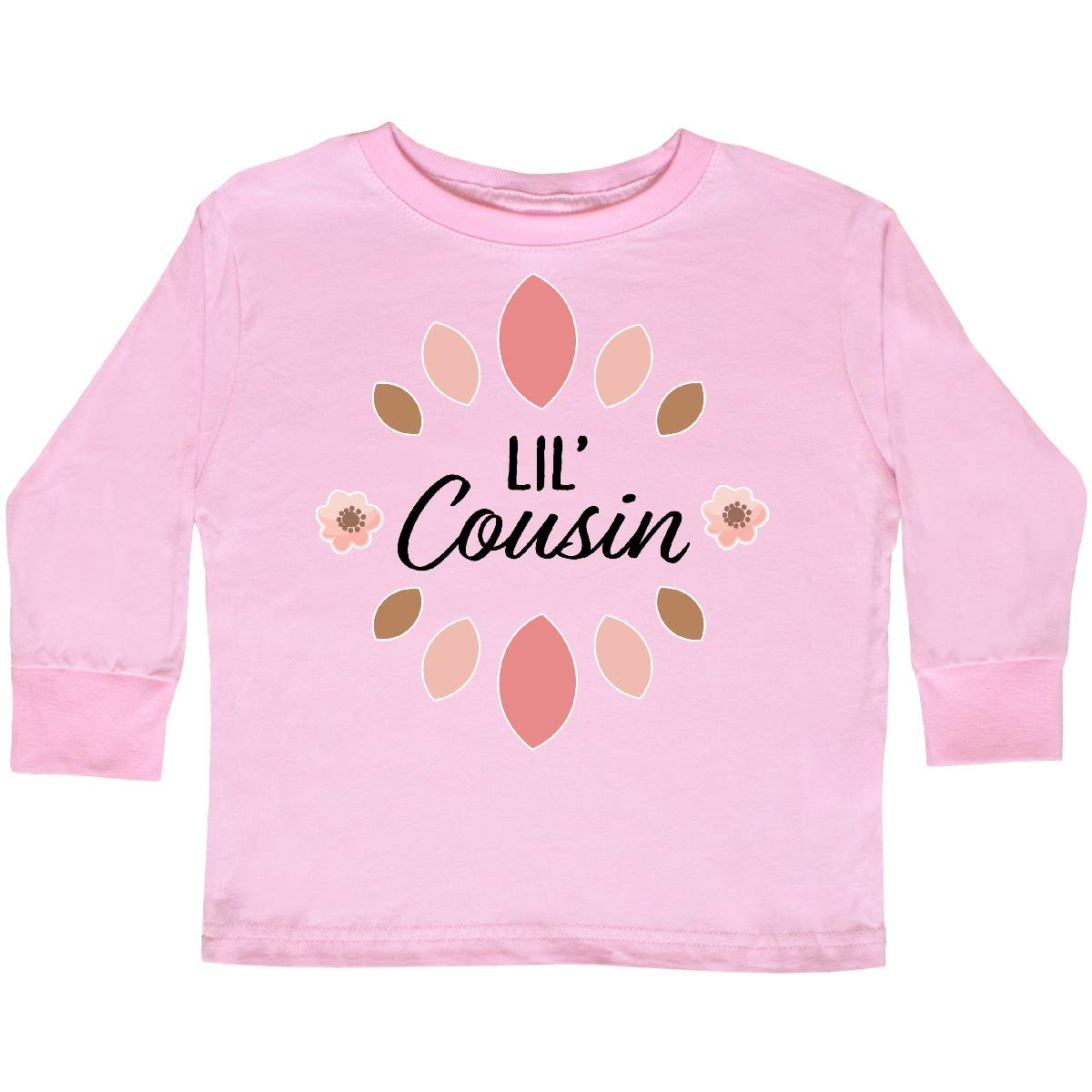 inktastic Lil Cousin with Pink Flowers Toddler T-Shirt