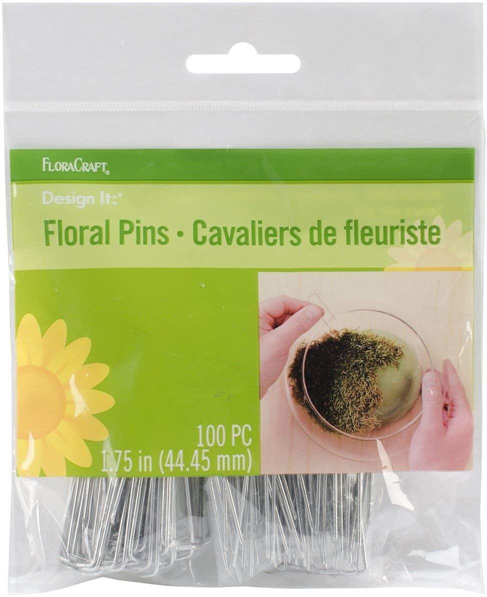 FloraCraft 100 Piece Floral Pins 1.75 Inch Silver