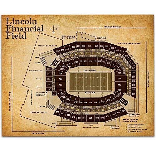 Lincoln Financial Field Football Seating Chart - 11x14 Unframed Art Print - Great Sports Bar Decor and Gift Under $15 for Football - Personalized Print Stadium