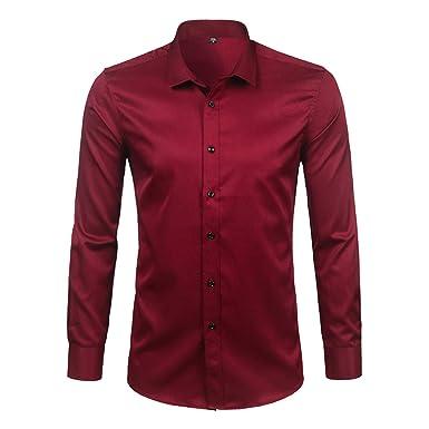 vêtements de sport de performance détaillant bons plans 2017 Men's Bamboo Fiber Dress Shirt Slim Fit Long Sleeve Chemise ...
