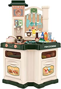 SUNUQ Kids Kitchen Playset Pretend Food Kitchen Toys for Toddlers, Toy Accessories Set Real Sounds and Light, for Kids, Girls
