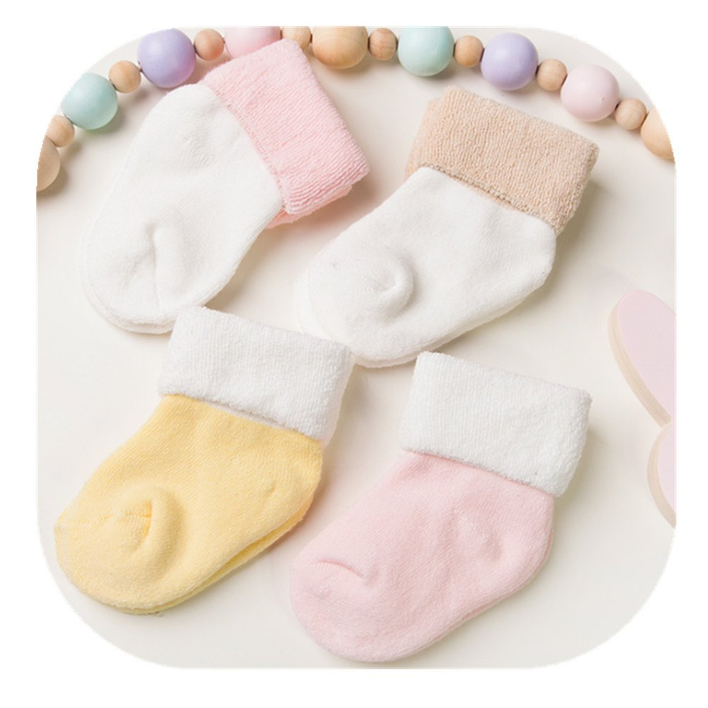 Fashion Cute Baby Boy Girl Thick Cotton Socks Newborn Infant Toddler Kids Soft Sock 4 Pairs Gift Set