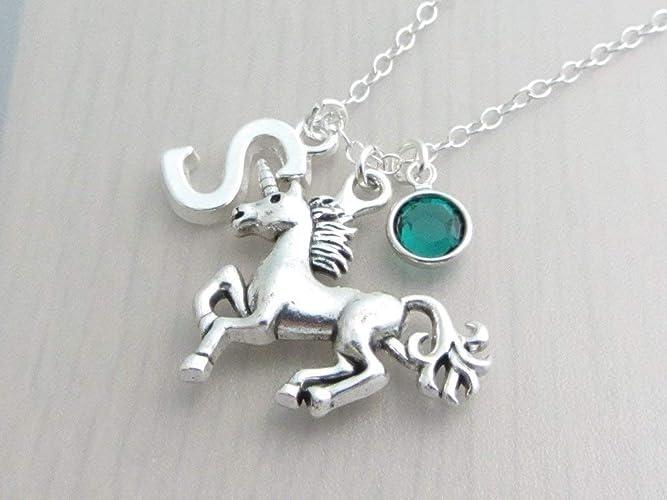 a2ffda387b473 Personalised Unicorn Initial Letter Birthstone Crystal Charm Pendant ...