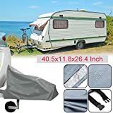 #8: Silvotek Universal Caravan Hitch Cover - Waterproof Tow Hitch Cover with Durable 210D Material,Grey Trailer Hitch Covers (Size:40.5x11.8x26.4 Inch)