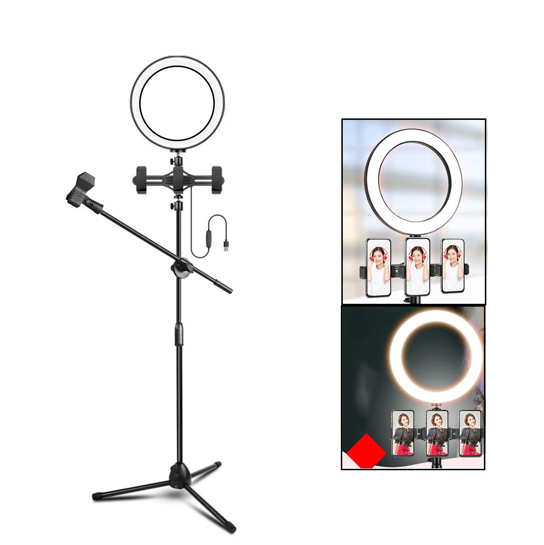 LIJUEZL LED Selfie Ring Light with 3 Cell Phone Holder Stand & Microphone Holder for Video Chat Live Stream,10in/26cm