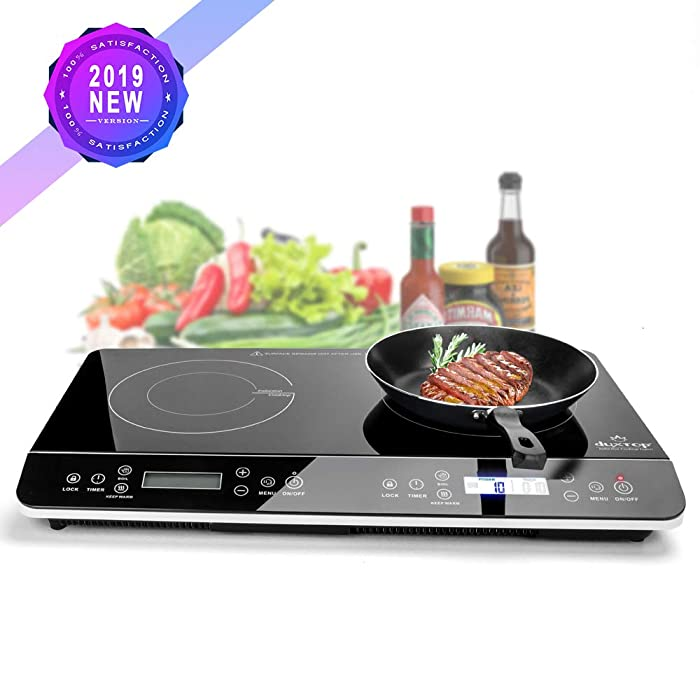 Duxtop 9620LS LCD Portable Double Induction Cooktop 1800w Digital Electric Countertop Burner Sensor Touch Stove