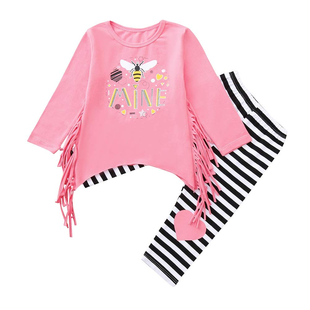 Tronet Kids Girls Autumn Letter Print Flow Comb Tops+Striped Pants Toddler Baby Fashion Clothing (Pink, 120(Age:3-4Years))