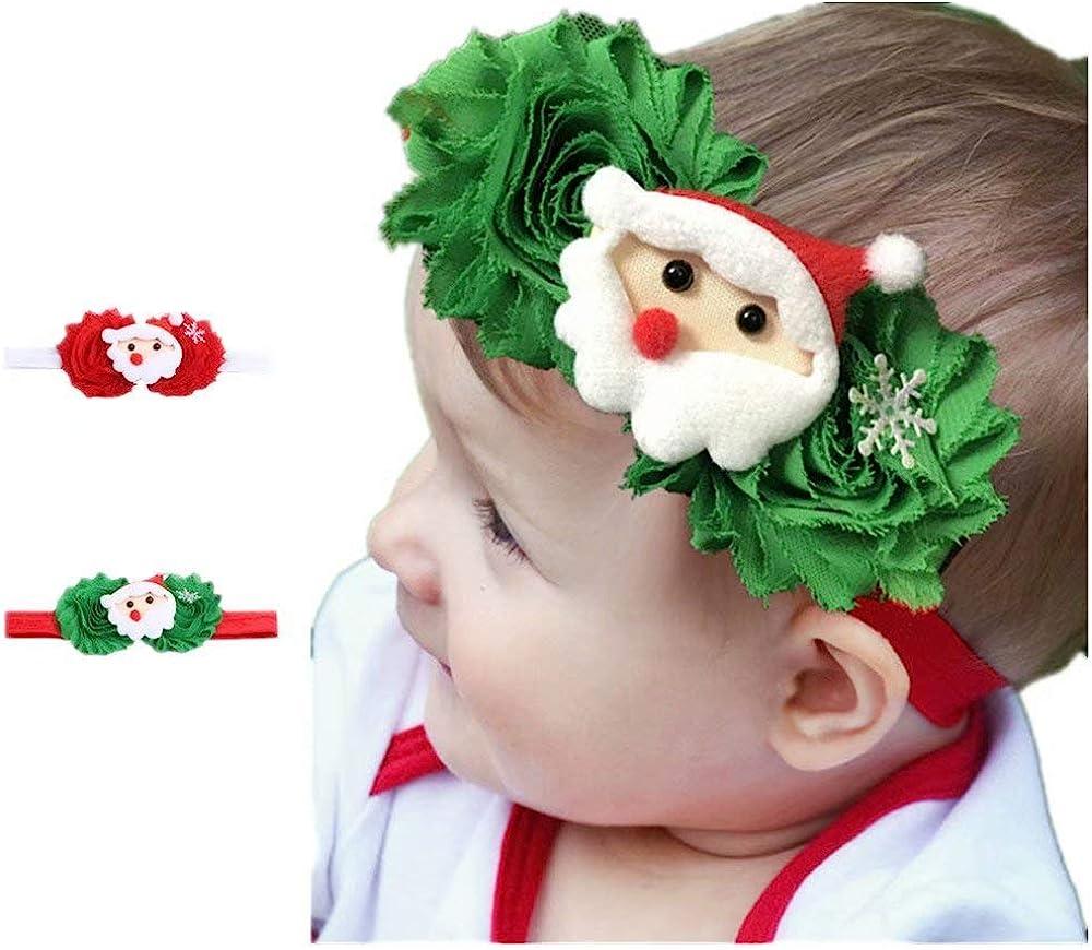 Christmas Baby Girl Headbands 2 Pack Infant Hair Accessories Toddler Hairbands Flower Santa Claus Elastic Hair Clip