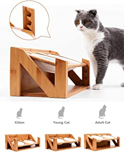 Premium Quality Adjustable Elevated Cat and Pet Dining Table, Titled Angle Raised Wooden Feeder with Dual Stainless Steel Bowls. Adjustable Size for Multiple Pets or Growing Pets…
