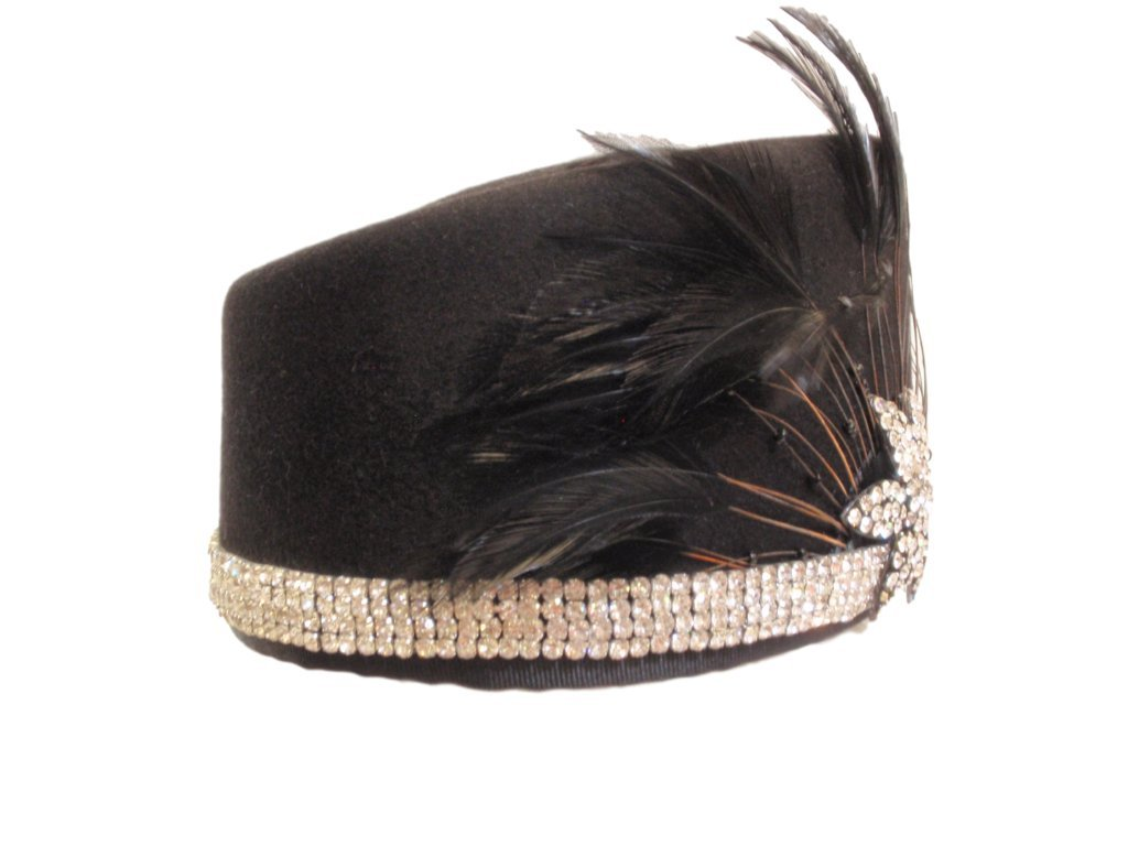 D Bar J Hat Brand, Female, Pill Box, Size 6 5/8, Black