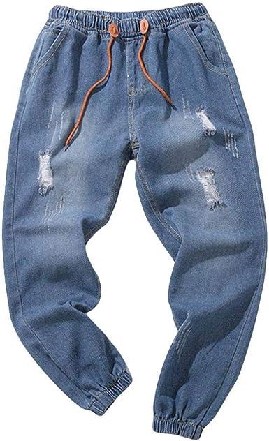 Elecenty Pantalone Uomo Denim Jeans,Pantaloni strappati da uomo con cerniera e cerniera in jeans