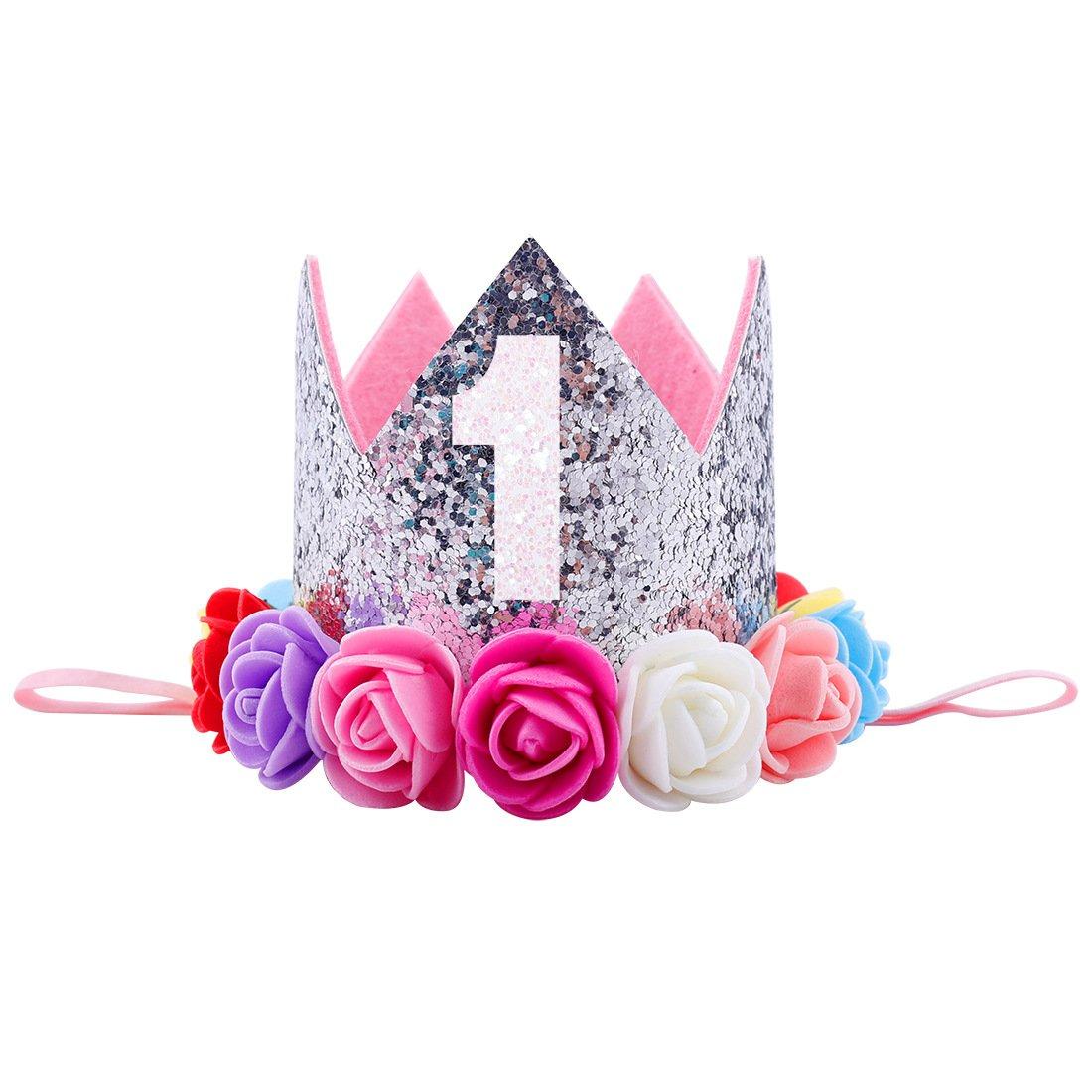 Missley Corona Rosa Flor Corona de Oro Corona de cumpleaños Princesa bebés Corona Cabeza Accesorios de Pelo (E)