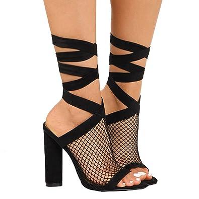 Juleya Damen High Heels Sandaletten Sommer Sandalen Absatzschuhe Sexy Mesh Blockabsatz Riemchen Sandalen 10cm...