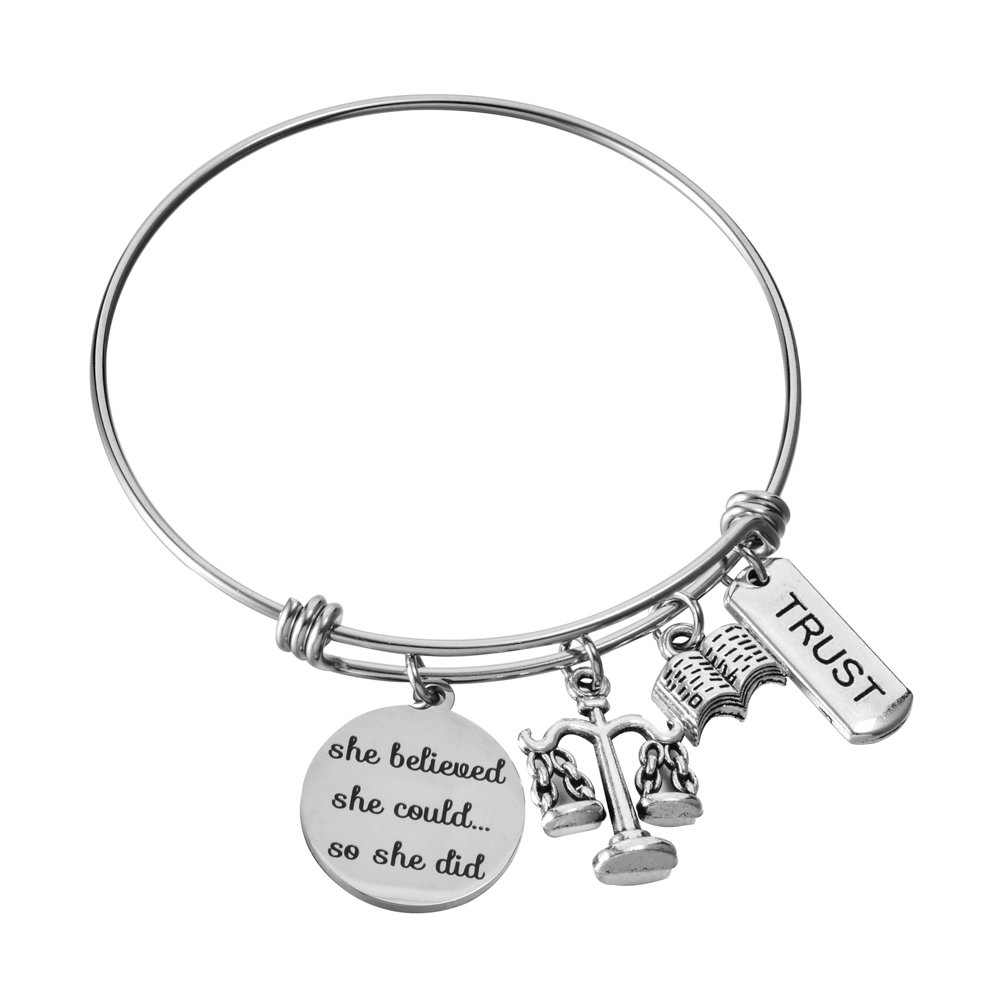 Scales of Justice Lawyer Gifts for Her Stainless Steel Adjustable Wire Bangle Charm Bracelet Law Judge Student Graduation Jewelry