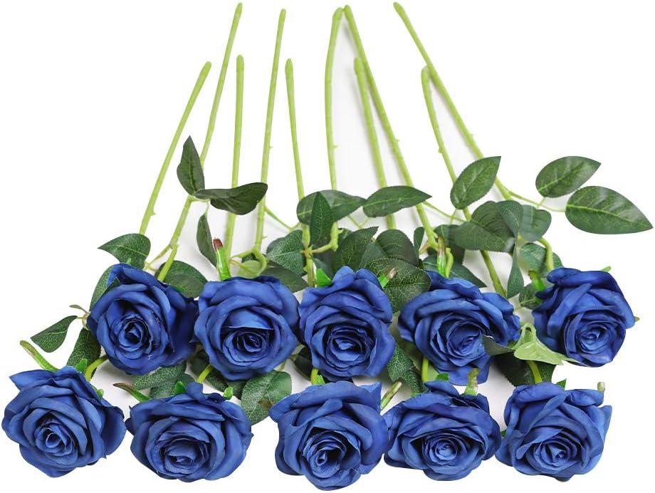 JUSTOYOU - Ramo de rosas artificiales de seda (10 unidades)