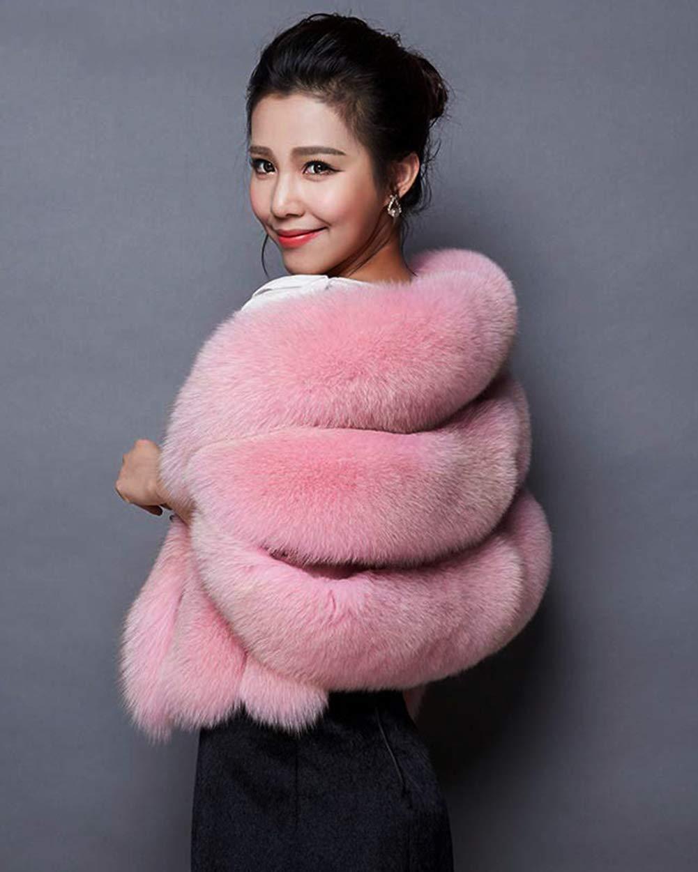 UR MAX BEAUTY Sweater Coat Faux dello Scialle della Pelliccia Inverno Involucri delle Donne Ha Rubato per Le Spose E Damigelle,Rosa