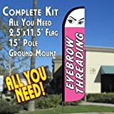 EYEBROW THREADING Windless Feather Banner Flag Kit (Flag, Pole, & Ground Mt)